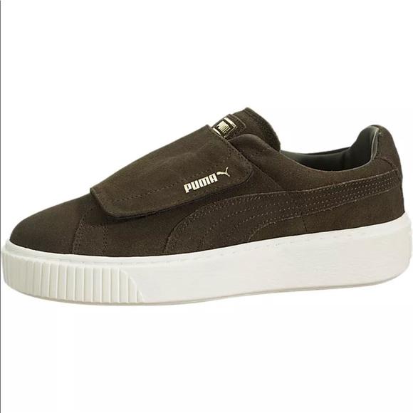 new arrival 5b373 513da Puma Suede Platform Strap Olive Green Sneakers 9